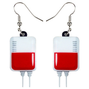 Wholesale Acrylic Halloween Novelty Blood Plasma Bag Earrings Drop Dangle Fashion Cute Jewelry For Women Girls Teens Party Charms