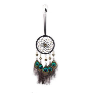 Wholesale Big Hot Dreamcatcher Wind Chimes Indian Style Natural Peacock Feather Pendant Dream Catcher Gift Wedding Decoration GA719