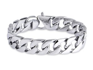 Wholesale Luxury Mens L Stainless Steel Bracelets Link Chains Width cm cm cm cm Silver Curb Cuban Bracelet for Men Hip Hop Jewelry G825R F