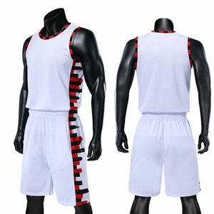 White Fashion casual simple Baketball Jersey Sleeveless men top t-shirt pant Basketball traning Suit Jerseys hot sale