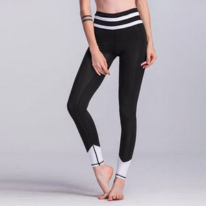 Wholesale ZC New Women Black white Stretch Yoga Pants striped Fitness Leggings Slim Running Sport Pant female elastic long skinny leggings
