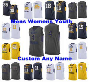 personalizar camisetas de baloncesto al por mayor-West Virginia montañistas Jerseys Jalen Bridges Jersey Culver Haley Harler Brandon Knapper NCCA Basketball Jerseys Mens Personalizar cosido