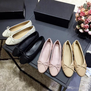 classic Ballet shoes Genuine soft Leather Rhombic Ladies Bow woman Dress shoes Letter Classic woman Sheepskin Flat boat shoes size 34-41-42