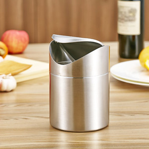 Stainless Steel Mini Wastebasket,Table Desk Trash Rubbish Bin Storage Bucket Countertop Recycling Top Trash Garbage Can & Swing Lid 1.5L on Sale