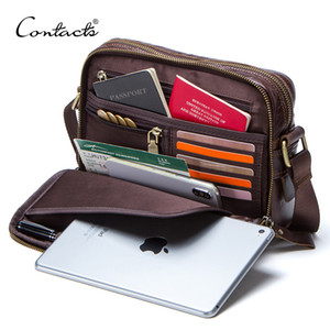 CONTACT'S genuine leather men messenger bag for ipad male shoulder bags for credit card man's bags with coin pocket on Sale