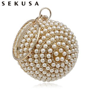Wholesale Sekusa Women s Pearl Beaded Evening Bags Pearl Beads Clutch Bags Handmade Wedding Bags Beige Black Quality Assurance Q190429