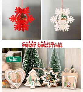 Wholesale 201909 Creative Merry Christmas Wooden Hollow Christmas Tree Small Pendant Five Pointed Star Bell Pendant Ornaments Kids New Year Gift M464A