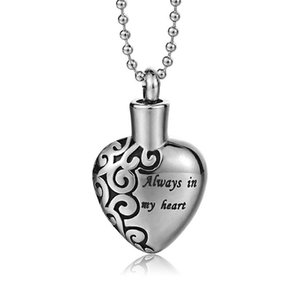 Stainless Steel Letter MOM Necklace Opens Heart-shaped Pet Cat and Dog Remains Bone Waterproof Urn Pendant