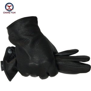 Wholesale Winter Man Deer Skin Leather Gloves Male Warm Soft Men s Arm Sleeve Black Men Mittens Imitate Rabbit Fur Wool Lining T190618