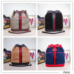 navy large print leather bucket cross body bag with Sherry stripe! 553961 Size:30.5*27.*12CM