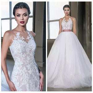 2019 New Sheer Lace Appliques Mermaid Wedding Dresses With Detachable Skirt Two Pieces Plus Size Bridal Gowns Custom Vestidos De Mariee