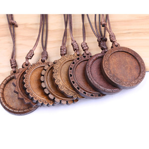 Wholesale shukaki fit mm wood cabochon pendant base settings with leather cord diy blank bezel necklace trays for jewelry making