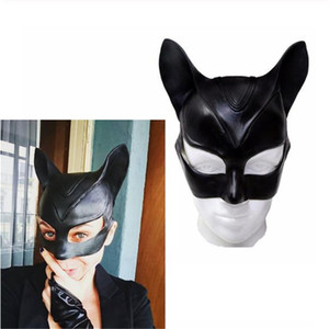 Wholesale Funny Sexy Black Catwoman Mask Cosplay Prop Adult Superhero Latex Half Face Mask Cat Girl Cosplay Half Face Mask Cosplay