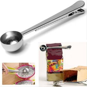 Stainless Steel Coffee Measuring Scoop With Bag Clip Sealing Multifunction Baking Measuring Spoon Seasoning Milk Ice Cream Scoop DH1288 T03