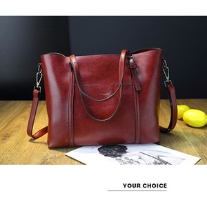 Fashion women's bag oil wax leather wild big bag large capacity tote bag female mobile female shoulder slung on Sale