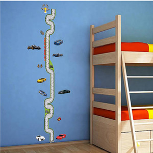 Wholesale Cartoon Car Track Height Chart Stickers Removable Baby Growth Stadiometer Decor Vinyl Decals Boys Room Nursery Decorative Mural D19011702