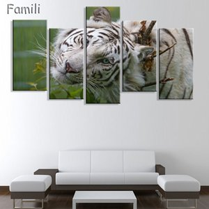 Wholesale tiger abstract oil paintings resale online - 5Piece Modern Printed Tiger Canvas Painting Cuadros Picture Animal Landscape Oil Paintings For Living Room No Frame