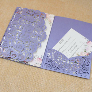 Wholesale white purple wedding invitation card resale online - 50sets Purple Romantic Wedding invitations with Rsvp Cards Party Decoration Card Wedding Bridal Birthday Invite Laser Cutting Invitations