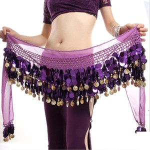 Wholesale Women Gold Metal Coins Waist Chain Belly Dance Hip Scarf Belt Scarf Skirt