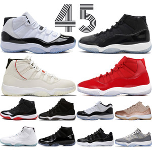 Concord High 45 11s Platinum Tint Cap and Gown Men Basketball Shoes Gym Red Bred Barons Space Jams 11 mens sports Sneakers designer trainers