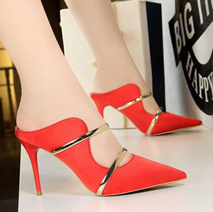 Wholesale Sexy females sandal and slipper Satin shallow mouth pointed fashion high heels hollow metal word with casual slipper