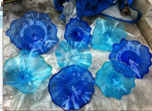 Wholesale Custom Made Blue Colored Murano Glass Wall Plates Chihuly Style Wedding Chihuly Style Wall Light Modern