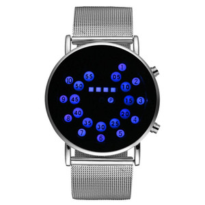 Wholesale High Quality Special Design Blue Round Dial LED Watch Silver Stainless Steel Mesh Band Watches