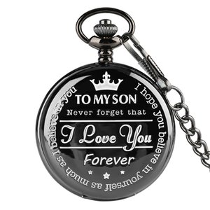 "Cheap Pocket & Fob Watches ""To MY SON' Engraving Word Black Pocket Watch Men Roman Number Watches Unique Quartz Clock Chain Boy"