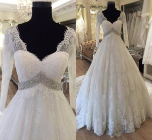 Romantic Illusion Long Sleeve Wedding Dresses Maternity V-neck Beaded Sashes Lace Applique Court Train Bridal Dress For Pregnant Women
