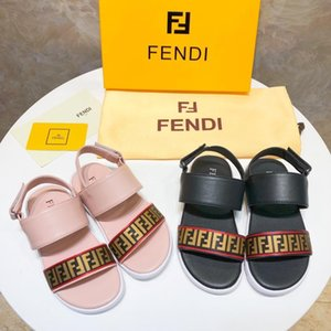 Wholesale Kids sandals Leather summer Newest Branded cartoon letter print slippers fashion Boy Girl rubber sole Non slip beach Slide Sandal ni k3