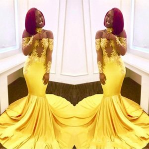 2019 Sexy Yellow Black Girls Mermaid Prom Dresses Lace Long Sleeves Backless Satin Floor Length Formal Party Wear Evening Gowns Custom on Sale