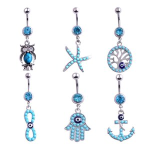 Wholesale Owl Anchor Hand Tree Belly Button Ring Colorful Rhinestone Navel Belly Rings Body Piercing Women Girls Summer Jewelry