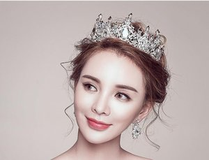 Bride's wedding dress headdress grand wedding crown three piece super Fairy Jewelry 2019 New Baroque queen accessories on Sale