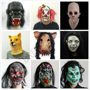 Wholesale Halloween Creepy Animal Prop Latex Party Mask Unisex Scary Pig Head Mask King Kong Orangutan Halloween Scary Mask With Black Hair