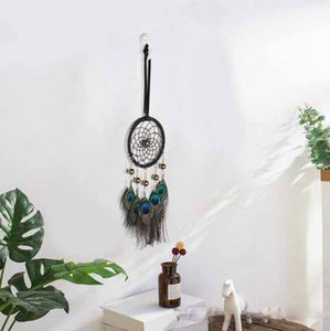Wholesale Big Hot Dreamcatcher Wind Chimes Indian Style Natural Peacock Feather Pendant Dream Catcher Gift Wedding Decoration