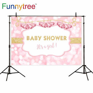 Funnytree baby shower backdrop photography pink dress bokeh golden text girl photophone photocall photographic background