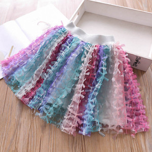 Wholesale kids designer clothes Girls Skirts Summer Rainbow Kids Tutu Skirts Bowknot Kids Skirt Girls Dress Girls Clothes Kid Clothing