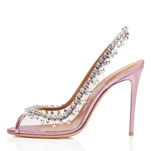 Wholesale 2019 summer new comfortable simple solid color high heels women elegant rhinestone decorative stiletto high heels