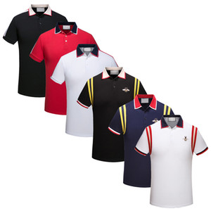 Wholesale Italy New Men Polo Shirts Snake Bee Embroidery Fashion Casual Polo Shirt High Street Clothes Designer Mens Polos Shirt Tees Tops