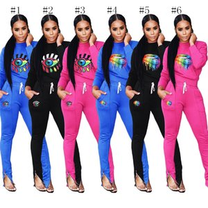 Women Two Pieces Outfits Rainbow lip Eye Sweatsuit Spring Autumn Tracksuits Sweatshirt Hoodie +Pants Leggings 2pcs Casual Sportswear C73001 on Sale