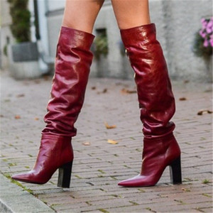 Wholesale Fashion Red Thich Chunky Heels Over Knee Boots Pointy Toe Square High Heels Party Shoes Woman Dress Thigh High Long Boots Women