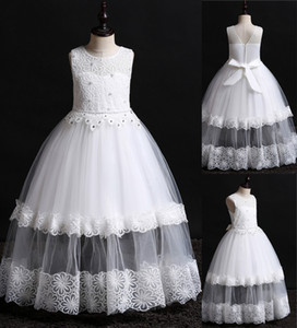 Wholesale dresses for kids for sale - Group buy 2019 Newest Designer Kids Dresses Lace Pearls Beaded Flower Girl Dress for Beach Wedding Little Girl Formal Wear Birthday Party Gown