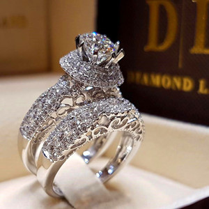 Wholesale diamond zircon crystal rings for sale - Group buy Luxury Crystal Diamond Female Big Zircon Stone Ring Set Fashion Silver Bridal Wedding Rings For Women Promise Love Engagement Ring