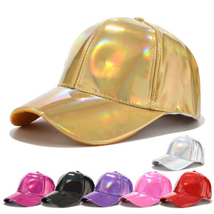 Wholesale light baseball cap for sale - Group buy PU Laser Baseball Cap Casual Adjustable Shining sunscreen universal hip hop baseball Snapback cap Fashion women light version LJJJ116