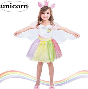 Wholesale INS Unicorn cosplay girls Creative Dress Up As Dance Tutu Dress Kids Cosplay Magical Fairy Wings Costumes Girl Rainbow Party Princess Dress
