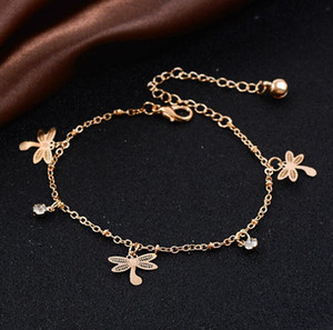 Wholesale Dragonfly Butterfly Leaves Pendant Anklets Foot Chain Summer Yoga Beach Leg Bracelet Handmade Anklet Rose Gold Color Jewelry