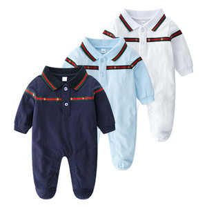 Wholesale 2019 New Cartoon Baby Romper Spirng Autumn Long Sleeve Baby Boy Girl Romper Infant Warm Jumpsuit Kids Cotton all match fashion colour