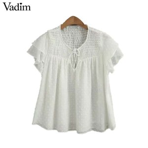 Wholesale Vadim women cute solid chiffon blouse bow tie see through design short sleeve female casual shirts chic tops blusas DA389