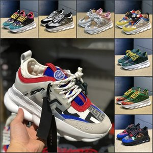 Wholesale Chain Reaction Best Quality Chainz Black White Leopard Men Women Luxury Designer Shoes Black Multi Color Rubber Suede Fashion Trainers