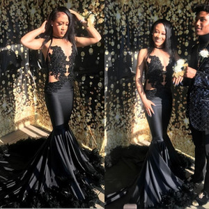 Black Prom Dresses 2019 Sexy Illusion Bodice Satin Long Train Evening Gowns Mermaid Appliques South African Evening Queen Wear